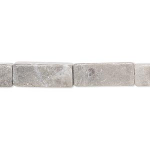 bead, riverstone with grey and cream marble (natural / dyed), light brown, 18x7mm-19x7mm square tube, c- grade, mohs hardness 3 to 3-1/2. sold per 15-inch strand.