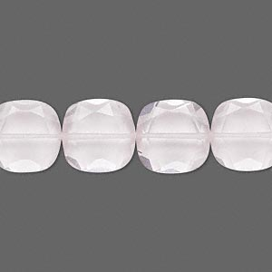 bead, rose quartz (natural), 12x12mm hand-cut faceted puffed square, b grade, mohs hardness 7. sold per pkg of 10.