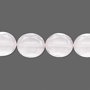 bead, rose quartz (natural), 14x12mm hand-cut faceted oval, b grade, mohs hardness 7. sold per pkg of 10.