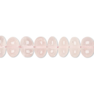 bead, rose quartz (natural), 9x6mm-11x7mm hand-cut rondelle, b- grade, mohs hardness 7. sold per 8-inch strand.
