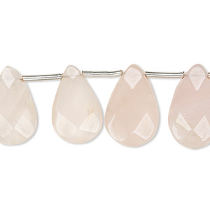 bead, rose quartz (natural), light, 14x11mm-18x12mm hand-cut top-drilled faceted puffed teardrop, b- grade, mohs hardness 7. sold per pkg of 15 beads.