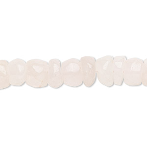 bead, rose quartz (natural), light, 7x4mm-9x6mm hand-cut tumbled rondelle, c- grade, mohs hardness 7. sold per 14-inch strand.