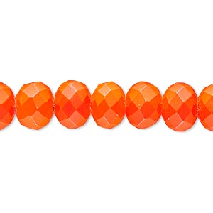 bead, rubber-coated glass, matte neon orange, 10x8mm faceted rondelle. sold per 8-inch strand, approximately 25 beads.