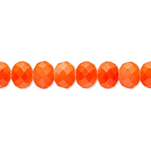 bead, rubber-coated glass, matte neon orange, 8x6mm faceted rondelle. sold per 8-inch strand, approximately 30 beads.