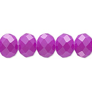 bead, rubber-coated glass, matte neon purple, 12x10mm faceted rondelle. sold per 8-inch strand, approximately 20 beads.