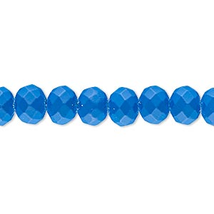 bead, rubber-coated glass, matte neon turquoise blue, 8x6mm faceted rondelle. sold per 8-inch strand, approximately 30 beads.