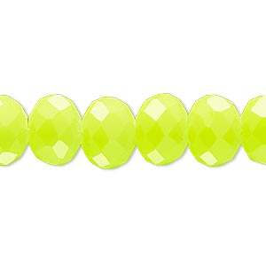 bead, rubber-coated glass, matte neon yellow, 12x10mm faceted rondelle. sold per 8-inch strand, approximately 20 beads.