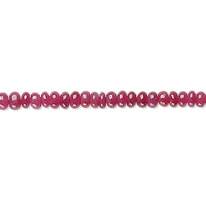 bead, ruby (dyed), 3x2mm-4x3mm graduated hand-cut rondelle, b grade, mohs hardness 9. sold per 16-inch strand.
