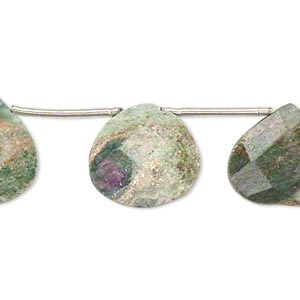 bead, ruby in fuchsite (oiled), 15x15mm-17x17mm hand-cut top-drilled faceted flat teardrop, b grade, mohs hardness 2 to 3. sold per pkg of 10.
