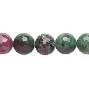 bead, ruby in zoisite (natural), 10-11mm faceted round, c grade, mohs hardness 6 to 7. sold per 15-inch strand.