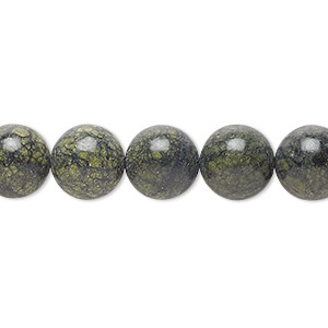 bead, russian serpentine (natural), 10mm round, b grade, mohs hardness 2-1/2 to 5. sold per 16-inch strand.