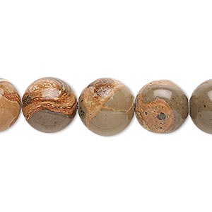 bead, safari jasper (natural), 12mm round, b grade, mohs hardness 6-1/2 to 7. sold per 16-inch strand.