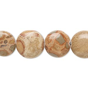 bead, safari jasper (natural), 14mm flat round, b grade, mohs hardness 6-1/2 to 7. sold per 16-inch strand.