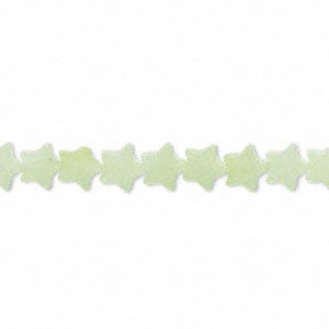 bead, sea green new jade (natural), 6x6mm flat star, b grade, mohs hardness 2-1/2 to 6. sold per 16-inch strand.