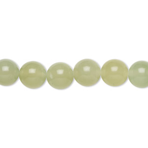 bead, sea green new jade (natural), light to medium, 8mm round, b grade, mohs hardness 2-1/2 to 6. sold per 16-inch strand.