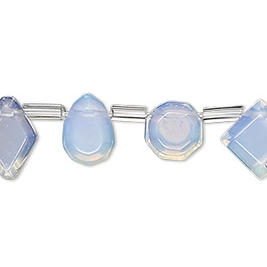 bead, sea opal glass, 10x9mm-14x10mm top-drilled multi-shape. sold per 16-inch strand, approximately 25 beads.