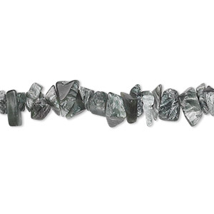 bead, seraphinite (natural), small hand-cut chip, mohs hardness 2 to 2-1/2. sold per 36-inch strand.