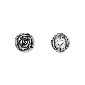 bead, silver-coated acrylic, 9mm round rosebud. sold per pkg of 144 (1 gross).