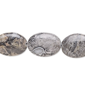 bead, silver crazy lace agate (natural), 18x13mm flat oval, b grade, mohs hardness 6-1/2 to 7. sold per 8-inch strand, approximately 10 beads.