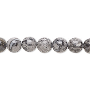 bead, silver crazy lace agate (natural), 8mm round, b grade, mohs hardness 6-1/2 to 7. sold per 16-inch strand.