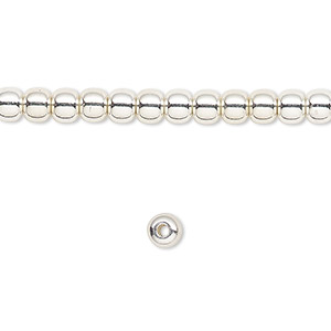 bead, silver-finished brass, 4mm round. sold per 16-inch strand.