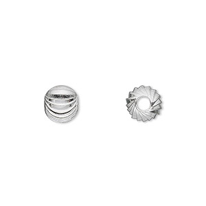 bead, silver-finished brass, 8mm spiral diamond-cut round. sold per pkg of 100.