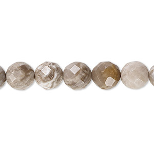 bead, silver leaf jasper (natural), 8mm faceted round with 0.5-1.5mm hole, b grade, mohs hardness 6-1/2 to 7. sold per 16-inch strand.
