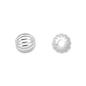 bead, silver-plated brass, 10mm corrugated round with 2.5mm hole. sold per pkg of 100.