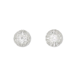 bead, silver-plated brass, 10mm filigree round. sold per pkg of 10.