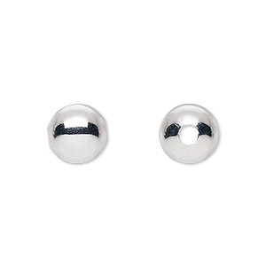 bead, silver-plated brass, 10mm round with 2.5mm hole. sold per pkg of 100.
