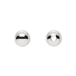 bead, silver-plated brass, 9mm round with 2.5mm hole. sold per pkg of 100.