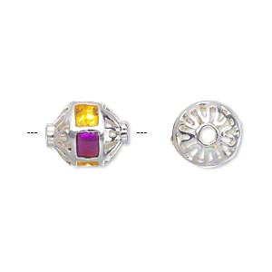 bead, silver-plated brass and enamel, transparent purple and yellow, 13x11mm hollow oval with filigree ends. sold individually.