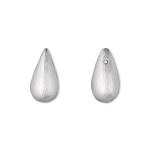 bead, silver-plated brass,16x9mm top-drilled brushed teardrop. sold per pkg of 4.