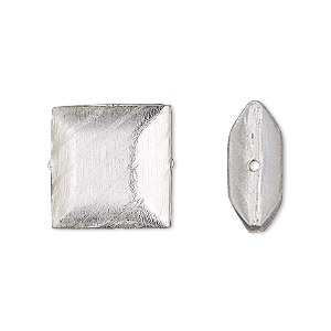 bead, silver-plated copper, 16x16mm cross-drilled brushed puffed square with lines. sold per pkg of 2.