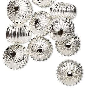 bead, silver-plated pewter (zinc-based alloy), 10mm hollow corrugated round with 2.5mm hole. sold per pkg of 10.