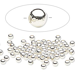 bead, silver-plated steel, 3mm round. sold per pkg of 500.
