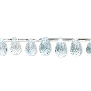 bead, sky blue topaz (irradiated), 7x5mm-10x6mm graduated hand-cut top-drilled faceted teardrop, b grade, mohs hardness 8. sold per pkg of 10 beads.