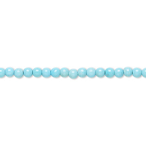bead, sleeping beauty turquoise (natural), 3mm round, a- grade, mohs hardness 5 to 6. sold per 16-inch strand.