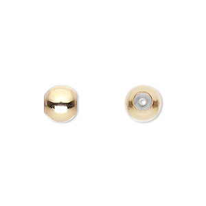 bead, smartbead bps™, silicone and 14kt gold-filled, 8mm seamless round with 1.5-2mm hole. sold per pkg of 2.
