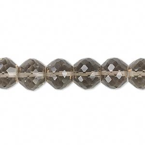 bead, smoky quartz (heated / irradiated), 10x8mm hand-cut faceted rondelle, b grade, mohs hardness 7. sold per pkg of 10.