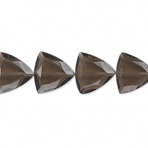 bead, smoky quartz (heated / irradiated), 12x12x12mm hand-cut faceted triangle, b grade, mohs hardness 7. sold per pkg of 10.
