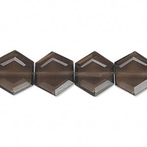 bead, smoky quartz (heated / irradiated), 13x12mm hand-cut faceted hexagon, b grade, mohs hardness 7. sold per pkg of 10.