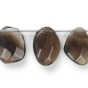 bead, smoky quartz (heated / irradiated), 15x11mm-24x16mm hand-cut top-drilled faceted drop, c grade, mohs hardness 7. sold per pkg of 11.
