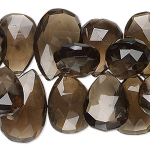 bead, smoky quartz (heated / irradiated), 15x12mm-26x15mm hand-cut top-drilled faceted puffed teardrop, b- grade, mohs hardness 7. sold per 4-inch strand.