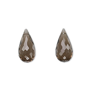 bead, smoky quartz (heated / irradiated), 16x8mm hand-cut top-drilled faceted briolette, b grade, mohs hardness 7. sold per pkg of 2.