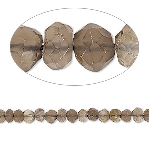 bead, smoky quartz (heated / irradiated), 3-5mm hand-cut faceted round, c+ grade, mohs hardness 7. sold per 13-inch strand.