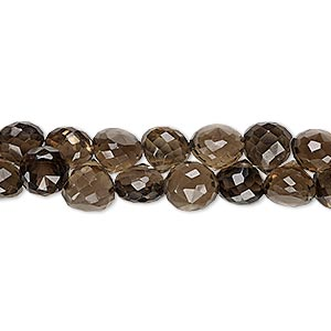 bead, smoky quartz (heated / irradiated), 7x6mm-8x7mm hand-cut top-drilled faceted teardrop, b grade, mohs hardness 7. sold per 4-inch strand.