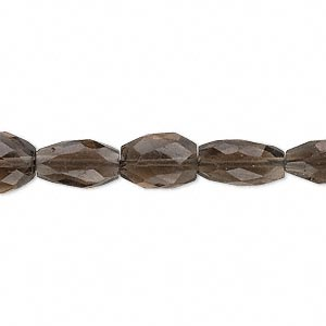bead, smoky quartz (heated / irradiated), 8x7mm-15x9mm hand-cut faceted puffed oval, c grade, mohs hardness 7. sold per 13-inch strand.