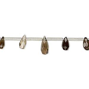bead, smoky quartz (heated / irradiated), light to dark, 4x3mm-9x4mm hand-cut top-drilled faceted teardrop, c grade, mohs hardness 7. sold per pkg of 18 beads.
