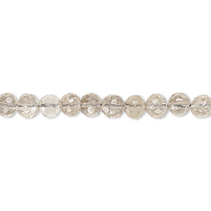 bead, smoky quartz (heated / irradiated), light to medium, 4-5mm hand-cut faceted round, b- grade, mohs hardness 7. sold per 12-inch strand.